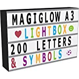 MagiGlow A3 Enhanced Cinematic Light Up Your Life Letter Box with 100 Black Characters, Storage Box & 8hr Power Timer
