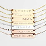 Personalized Necklace Name Plate Bar Gold Necklace Custom Silver Necklace Wedding Bridesmaid Gift Mom Valentine's Day Gifts for Her - 4N