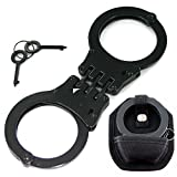 Professional Heavy Duty Black Hinged Police Style Handcuffs Double Lock with Duty Handcuff Nylon Case Holster