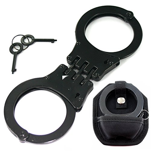 [Professional Heavy Duty Black Hinged Police Style Handcuffs Double Lock with Duty Handcuff Nylon Case] (Black Martial Arts Costume)