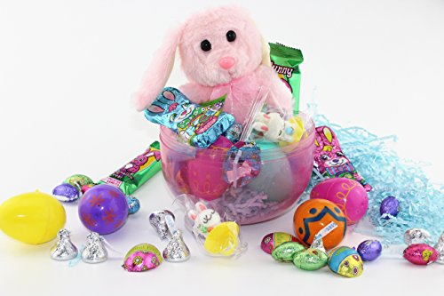 "8""Easter Jumbo Egg Filled With Easter Bunny Easter Chocolates 4 Eggs with Hershey's Kiss Milk Chocolate Bunny Shape Chocolate & Rabbit Shape Gummy and Lollipop Rabbit Ring (Pink)"
