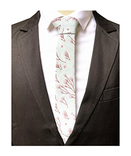 m flower Silk Ties Mint Dress Business Skinny Necktie Online ()