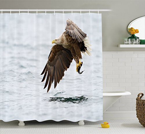 Ambesonne Eagle Shower Curtain, Bird with Feathers on Head a