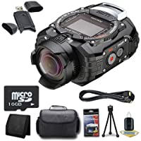Ricoh WG-M1 14MP CMOS Action Camera (Black) + 16GB microSD Memory Card + Carrying Case + Micro HDMI Cable + SDHC Card USB Reader + Memory Card Wallet + Deluxe Starter Kit  DavisMAX Bundle