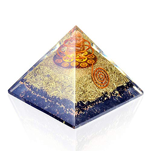 (Orgone Pyramid Energy Generator - Chakra Om Symbol Orgonite Black Tourmaline Crystal Pyramid with Brass Metal for EMF Protection - Chakra Balancing-Healing-Meditation-Yoga)