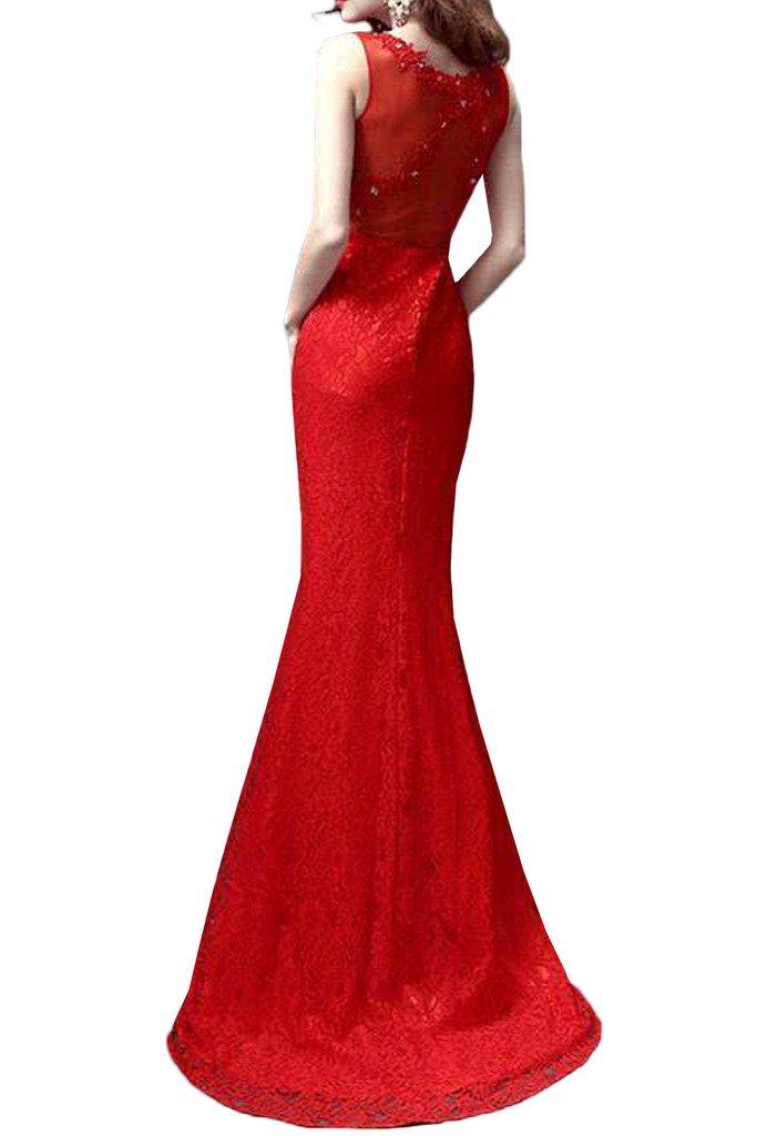 sunvary 2016 Rojo Sirena raso y encaje boda recepción Fiesta Prom Vestido: Amazon.es: Ropa y accesorios
