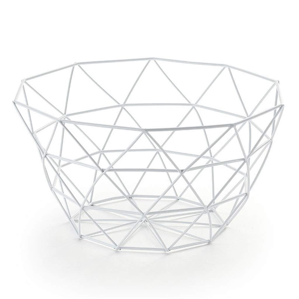 AIWO-PQ Fruit Basket White Geometric Wire for Living Room Bar Decoration Storage/Display Basket