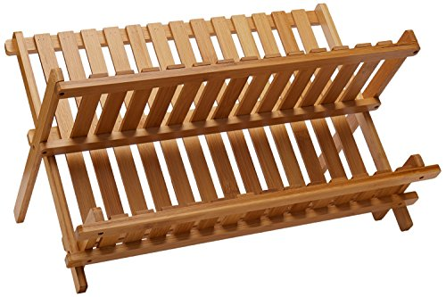Lipper International 8813 Bamboo Wood Folding Dishrack, 17-3/4
