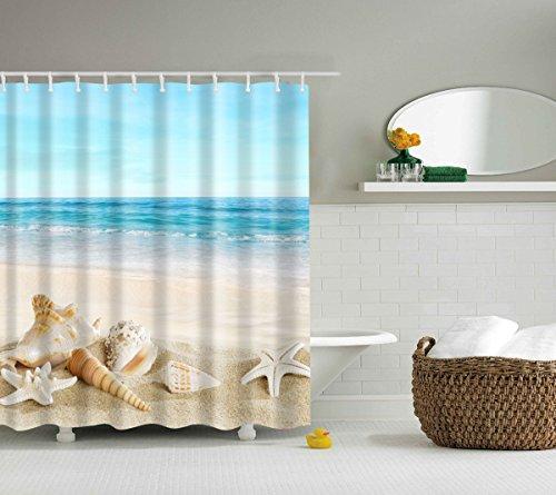 Jibin Bong 72 X 72 Inch Blue Sky Tropical Beach Shower Curtain Starfish Conch Seashell Shower Curtains - Waterproof fabric Polyester Bathroom Decor Ocean Shower Curtain (Beach Decor Seashell)