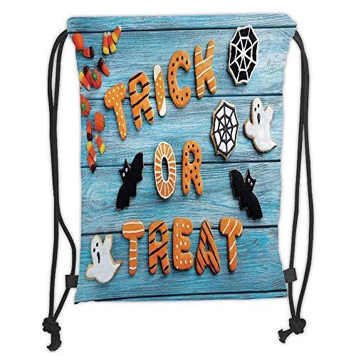 Custom Printed Drawstring Backpacks Bags,Vintage Halloween,Trick or Treat Cookie Wooden Table Ghost Bat Web Halloween,Blue Amber Multicolor Soft Satin,5 Liter Capacity,Adjustable String Closure,T