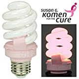 Pink Breast Cancer Awareness Light Bulb by TCP Benefits the Susan G. Komen for the Cure Foundation. 14 Watt (Equal to 60 w) CFL Lightbulb Lasts 9 Years, Saves 75% vs. Incandescent Bulbs.