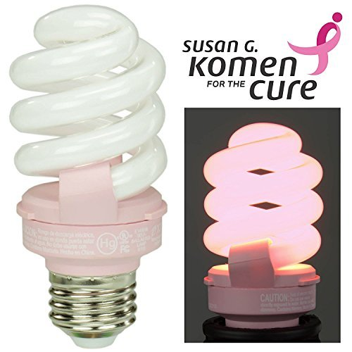 Pink Breast Cancer Awareness Light Bulb by TCP Benefits the Susan G. Komen for the Cure Foundation. 14 Watt (Equal to 60 w) CFL Lightbulb Lasts 9 Years, Saves 75% vs. Incandescent Bulbs. by TCP