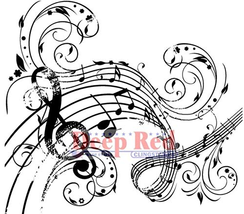 ShopForAllYou Stamping & Embossing Rubber Stamp Music Swirl Notes G Clef Musical Theme