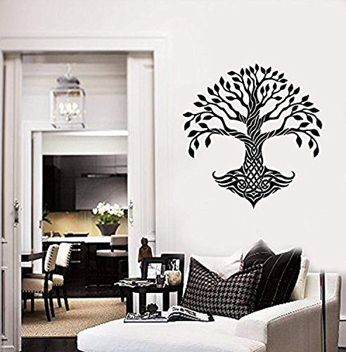 (Celtic Tree Vinyl Wall Decal Leaves Roots Irish Ornament Decor Stickers Mural G1052)