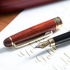 Golden State Ink [Top Rated Rosewood Fountain Pen] Designer Luxury Fountain Pens by our Napa Valley Collection - Best 100% Handcrafted Pen Set with Case- Perfect for Gifts - Calligraphy Pen