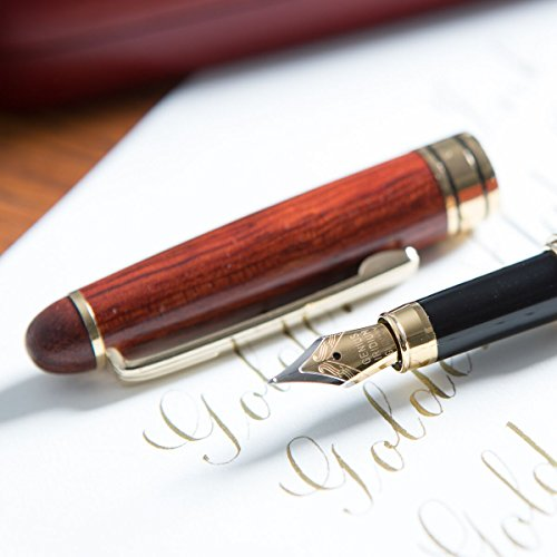 [Top Rated Rosewood Fountain Pen] Designer Luxury Fountain Pens by Golden State Ink - our'Napa Valley Collection' - Best 100% Handcrafted Pen Set with Case- Perfect for Gifts - Calligraphy Pen