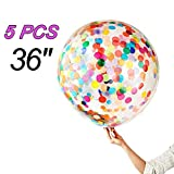 5 Pieces Jumbo Confetti Balloons 36 Inch Latex Balloon with Multicolor Confetti for Wedding Party Decorations, a Baby Shower or Birthday Party Décor