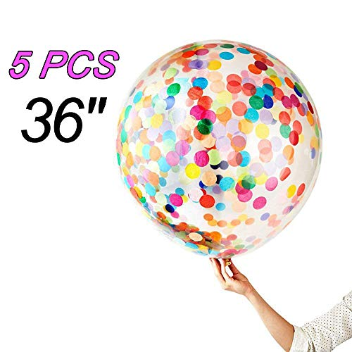 5 Pieces Jumbo Confetti Balloons 36 Inch Latex Balloon with Multicolor Confetti for Wedding Party Decorations, a Baby Shower or Birthday Party Décor by Toptik