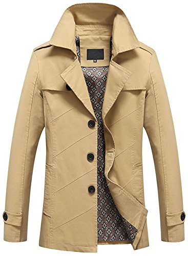 Slim Breasted Coat Fit Collar Trench Men's Lightweight 1212 khaki Single Chouyatou Lapel qzw4gYzt