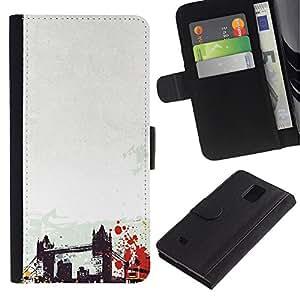 Be Good Phone Accessory // Caso del tirón Billetera de Cuero Titular de la tarjeta Carcasa Funda de Protección para Samsung Galaxy Note 4 SM-N910 // Brooklyn Bridge New York America Usa Art