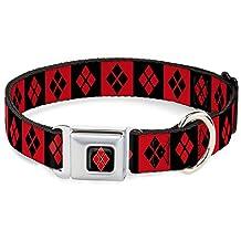 "Buckle-Down DC-WJK024-S Dog Collar Seatbelt Buckle-Harley Quinn Diamond Blocks Red/Black Black/Red, 1""x9-15"""
