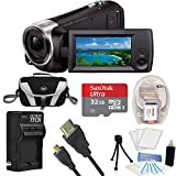 Sony HD Video Recording HDRCX405 Handycam Camcorder Black Ultimate Bundle w/ 32GB MicroSDHC Card, Spare High Capacity Battery, AC/DC Charger, Table top Tripod, Padded Case, Micro HDMI Cable and More