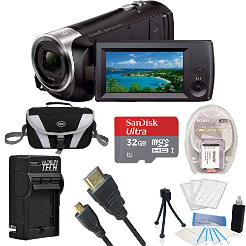 Sony HD Video Recording HDRCX405 Handycam Camcorder Black Ultimate Bundle w/ 32GB MicroSDHC Card, Spare High Capacity Battery, AC/DC Charger, Table top Tripod, Padded Case, Micro HDMI Cable and More by Beach Camera