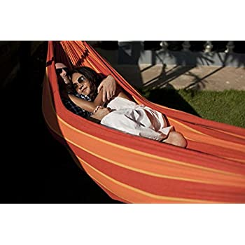 Hammock Sky Brazilian Double Hammock - Two Person Bed for Backyard, Porch, Outdoor and Indoor Use - Soft Woven Cotton Fabric for Supreme Comfort (Orange & Yellow Stripes)