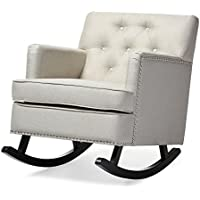Baxton Studio Bethany Modern & Contemporary Fabric Upholstered Button-Tufted Rocking Chair, Light Beige