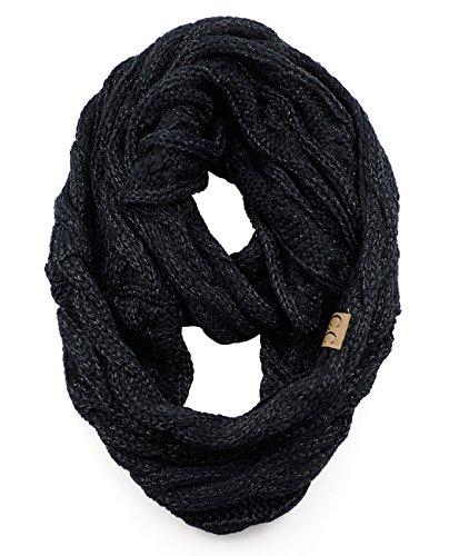 NYFASHION101 Soft Winter Warm Chunky Knit Cowl Infinity Loop Scarf, Metallic Black (Scarf Knit Cowl)