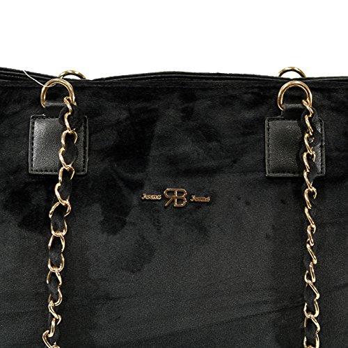 Borsa Renato Balestra Jeans, Collezione A/I 2018, in tessuto vellutato di colore Nero. RB-BO176-174NE