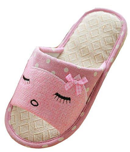 Blubi Femmes Été Chat Linge Confortables Pantoufles Chaussures Rose