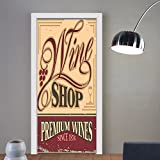 Gzhihine custom made 3d door stickers Vintage Decor Vintage Rusty Metal Pop Art Style Sign For Wine Shop Past Time Adds Bohemian Decor Decor Orange Red For Room Decor 30x79