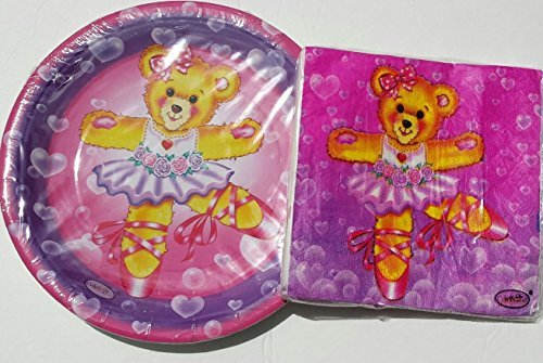 Celebrate!! Dancing Teddy Bear Plates (16) and Napkins (16)