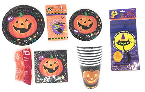 Pumpkin Pals Halloween Mega Party Bundle: 16 Invitations, 16 Pumpkin Pals Dinner Plates and Lunch Plates With 16 Matching Napkins, 20 Goody Bags, 16- 8 Ounce Cups, And Two Sets Of 24 Count Cutlery Set