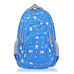 Vbiger Niños Mochila Bolsa Viaje Mochila Escuela con Correas Ajustables (Azul)