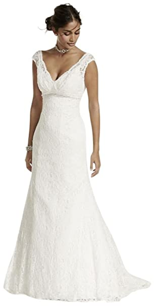 50fbd72041 David s Bridal All Over Beaded Lace Trumpet Wedding Dress Style T9612 at Amazon  Women s Clothing store