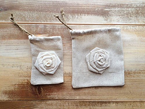 - Set of 12-Natural Cotton Favor Bags with Rosettes-Cinch With Jute Twine-Two Sizes Available