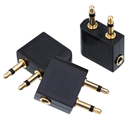 eBoot Golden Plated Airplane Airline Flight Adapters for Headphones, 3 Pack
