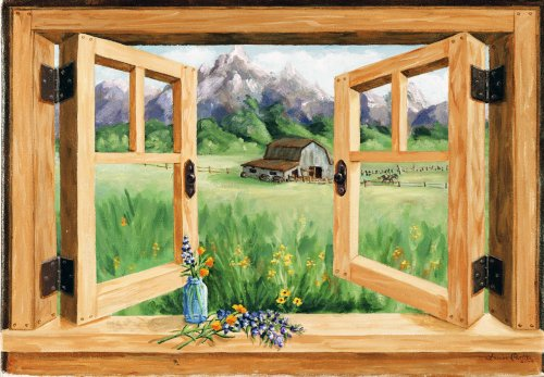 Stupell Home Décor Barn Mountain Window Scene, 36 x 0.5 x...
