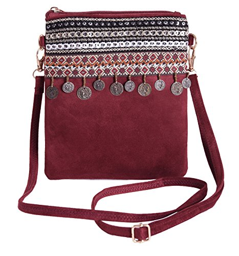 Pulama Vintage Bohemian Crossbody Small Handbag Adorable Ethnic Cellphone Pouch Claret Beaded Hobo Purse Handbag