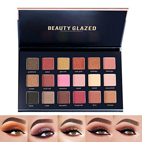 Beauty Glazed 18 Colors Shimmer Rose Gold Textured Eyeshadow