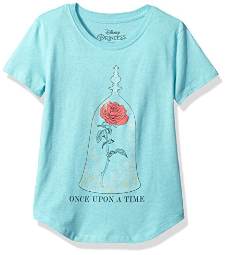 Disney Shirts For Girls (Disney Big Girls' Beauty and the Beast T-Shirt, Sea Blue, L)