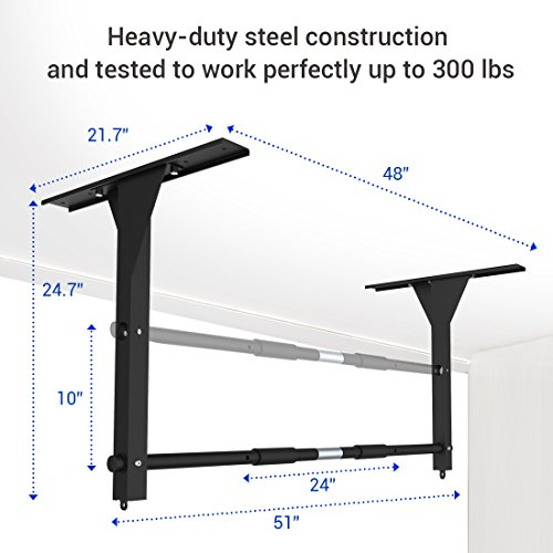 "Fitleader Ceiling Mounted Pull Up Bar 48"" on center mount holes fit for 16"" and 24"" ceiling joists"