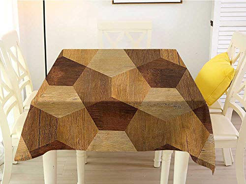 - L'sWOW Square Tablecloth Green Retro Abstract Parquet Flooring Wooden Rustic with Geometric Monochrome Pattern Brown Pale Brown Party 50 x 50 Inch