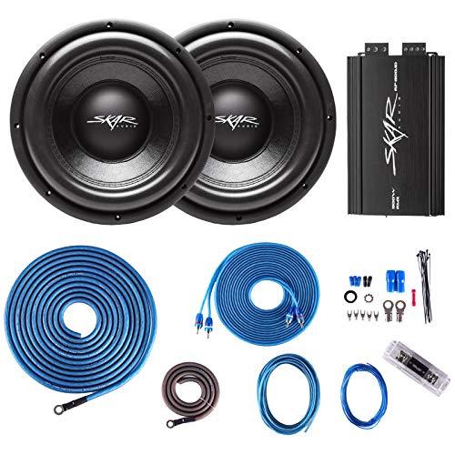 (2) Skar Audio VD-10 D2 500 Watt RMS Subwoofers with RP-800.1D Monoblock Sub Amplifier and 4 Gauge Amp Kit