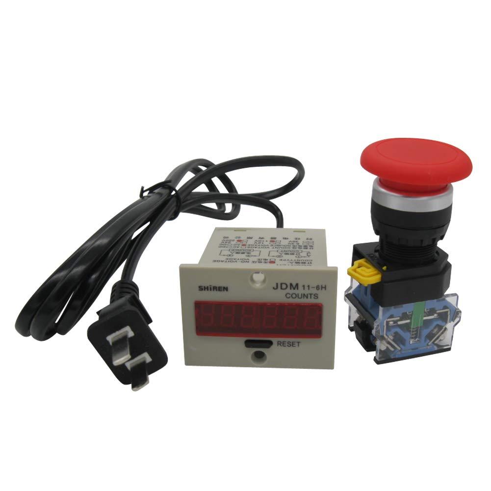TWTADE/ 110-220VAC LED Auto Display Digital Counter 0-999999 6 Digits + Red Mushroom Momentary Switch Push Button 10A 440V 1NO 1NC