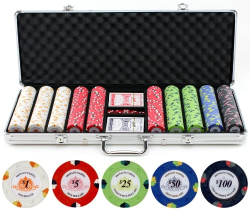 13.5g 500pc Monaco Casino Clay Poker Chips Set by JPC