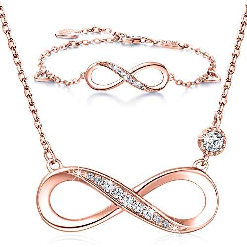 "Billie Bijoux 925 Sterling Silver Necklace Bracelet One Sets Forever Love"" Infinity Heart Love Jewelry Sets White Gold Plated Diamond Women Necklace Gift for Christmas (B-Rose Gold)"