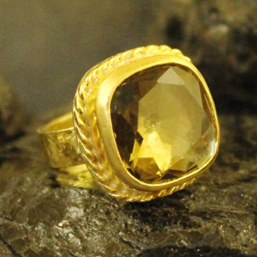 Ancient Design Handmade Hammered Smoky Quartz Ring With Topaz 22K Gold over 925 Sterling Silver ()